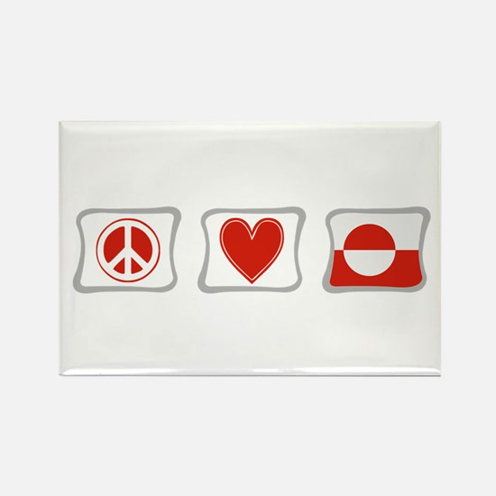 Peace, Love and Greenland Rectangle Magnet