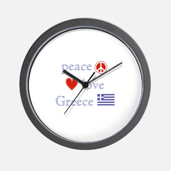 Peace, Love and Greece Wall Clock