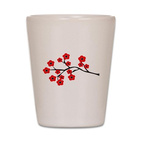 Red Cherry Blossom Tree Shot Glass