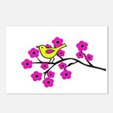 Hot Pink Cherry Blossom Bird Postcards (Package of