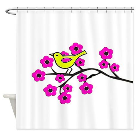 Hot Pink Cherry Blossom Bird Shower Curtain By Natureslittletreasures