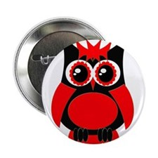"""Red Punk Owl 2.25"""" Button"""