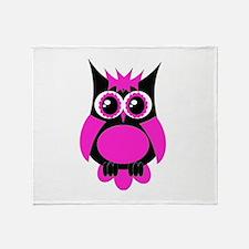 Hot Pink Punk Owl Throw Blanket