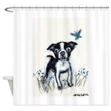 Boston Terrier pup butterfly Shower Curtain