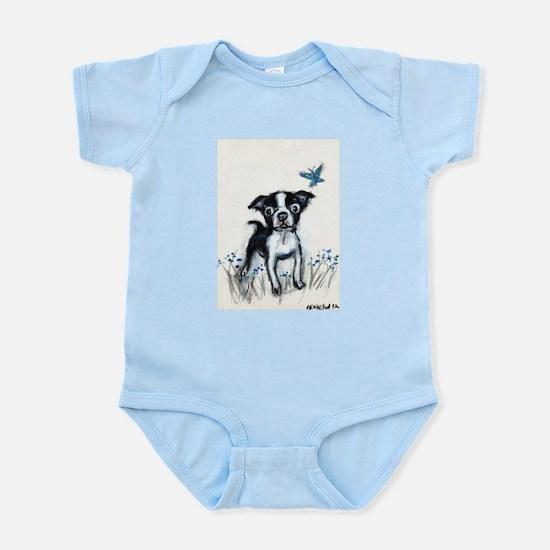 Boston Terrier pup butterfly Infant Bodysuit