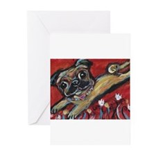 Pug love tulips Greeting Cards (Pk of 20)