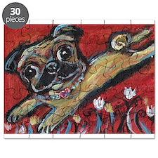 Pug love tulips Puzzle