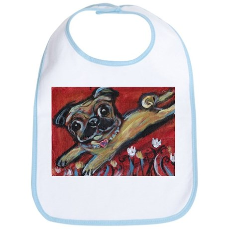 Pug love tulips Bib