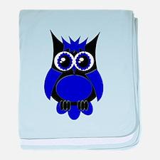 Navy Blue Punk Owl baby blanket