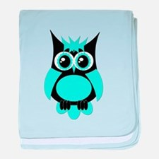 Aqua Punk Owl baby blanket