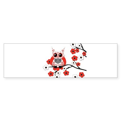 Red & White Sugar Skull Owl i Sticker (Bumper)