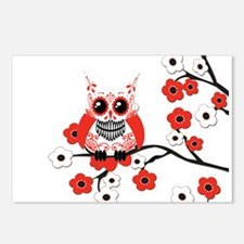 Red & White Sugar Skull Owl i Postcards (Package o