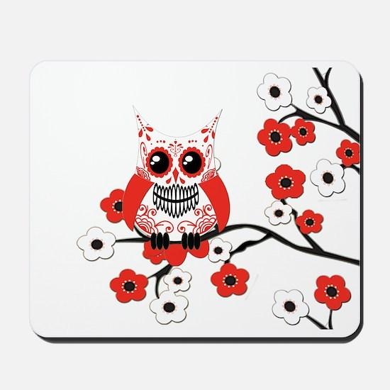 Red & White Sugar Skull Owl i Mousepad