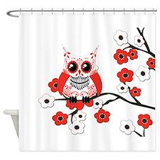 Red & White Sugar Skull Owl i Shower Curtain