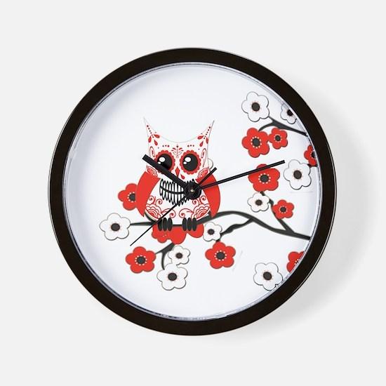 Red & White Sugar Skull Owl i Wall Clock