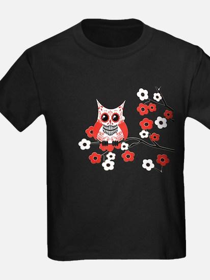 Red & White Sugar Skull Owl i T