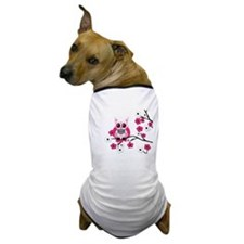 Pink & White Sugar Skull Owl Dog T-Shirt