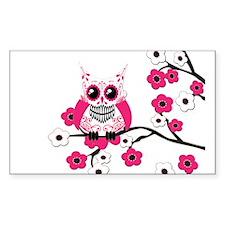 Pink & White Sugar Skull Owl Decal