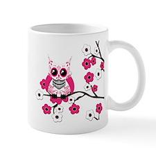 Pink & White Sugar Skull Owl Mug