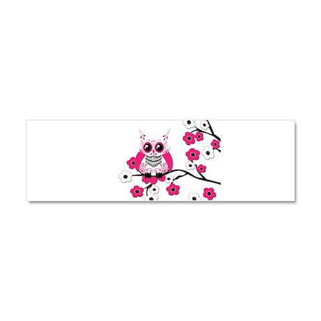 Pink & White Sugar Skull Owl Car Magnet 10 x 3