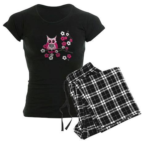 Pink & White Sugar Skull Owl Women's Dark Pajamas