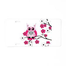 Pink & White Sugar Skull Owl Aluminum License Plat