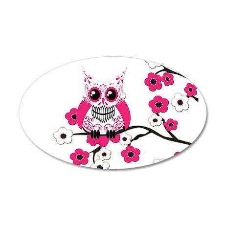 Pink & White Sugar Skull Owl 38.5 x 24.5 Oval Wall