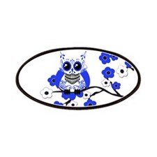 Blue & White Sugar Skull Owl Patches