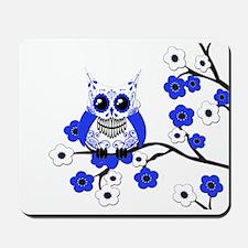 Blue & White Sugar Skull Owl Mousepad