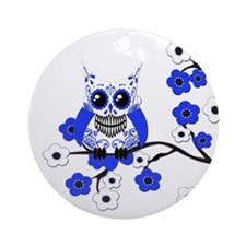 Blue & White Sugar Skull Owl Ornament (Round)