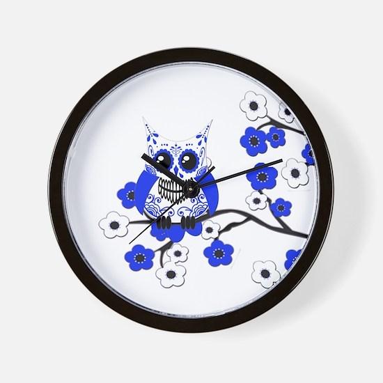 Blue & White Sugar Skull Owl Wall Clock