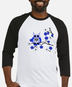 Blue & White Sugar Skull Owl Baseball Jersey