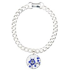 Blue & White Sugar Skull Owl Charm Bracelet, One C