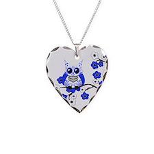 Blue & White Sugar Skull Owl Necklace Heart Charm