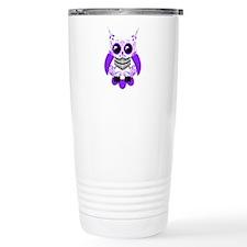 Purple White Sugar Skull Owl Travel Mug
