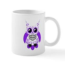 Purple White Sugar Skull Owl Mug