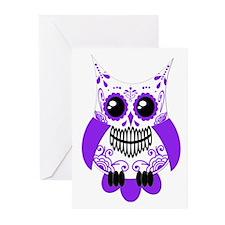 Purple White Sugar Skull Owl Greeting Cards (Pk of