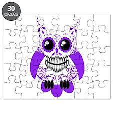Purple White Sugar Skull Owl Puzzle