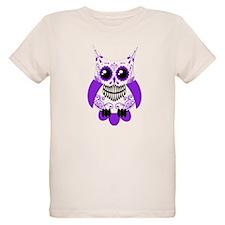 Purple White Sugar Skull Owl T-Shirt
