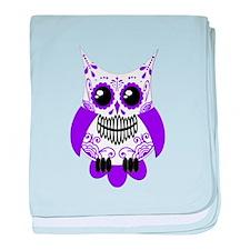 Purple White Sugar Skull Owl baby blanket