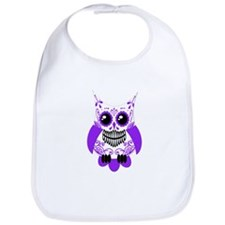 Purple White Sugar Skull Owl Bib