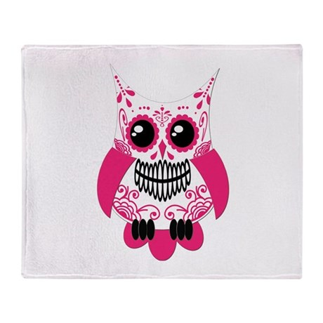 Hot Pink White Sugar Skull Ow Throw Blanket