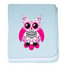 Hot Pink White Sugar Skull Ow baby blanket