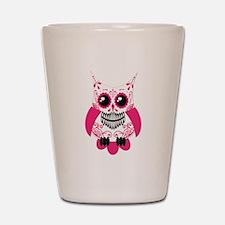 Hot Pink White Sugar Skull Ow Shot Glass