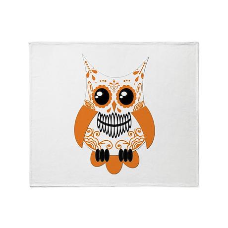 Orange White Sugar Skull Owl Throw Blanket