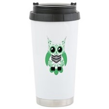 Green White Sugar Skull Owl Travel Mug