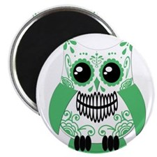 """Green White Sugar Skull Owl 2.25"""" Magnet (10 pack)"""
