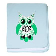 Green White Sugar Skull Owl baby blanket