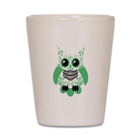 Green White Sugar Skull Owl Shot Glass