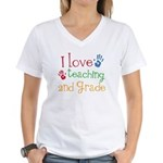 Love Teaching 2nd Grade Women's V-Neck T-Shirt
